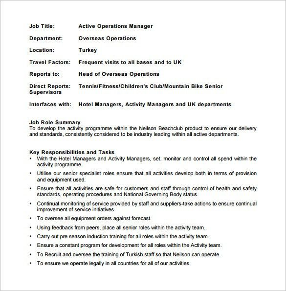 Operations Manager Job Description Template   9+ Free Word, PDF .