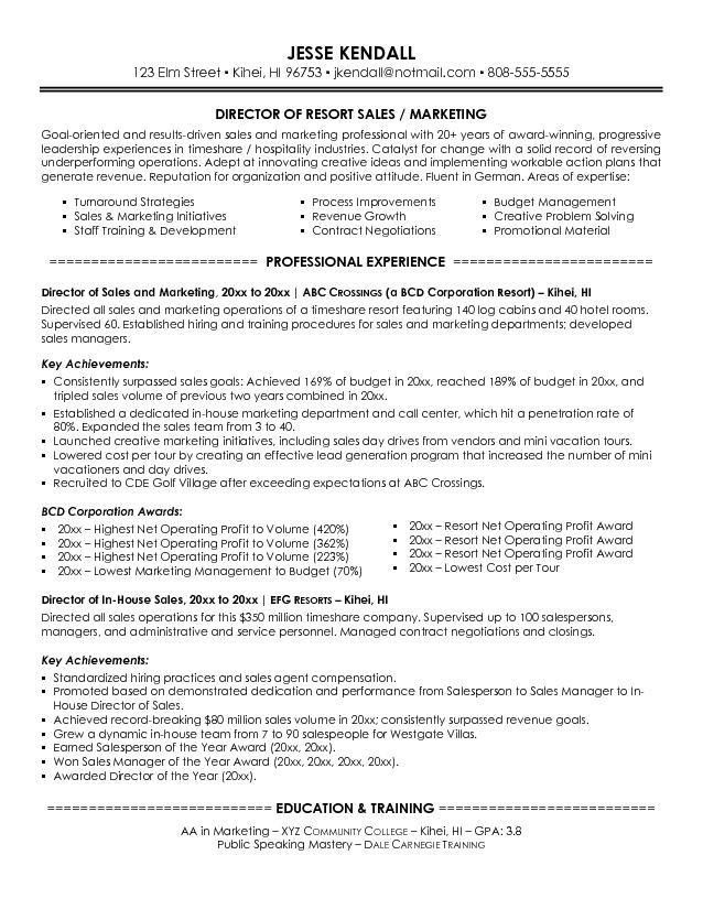 sample resume sales and marketing resume objective h. regional ...