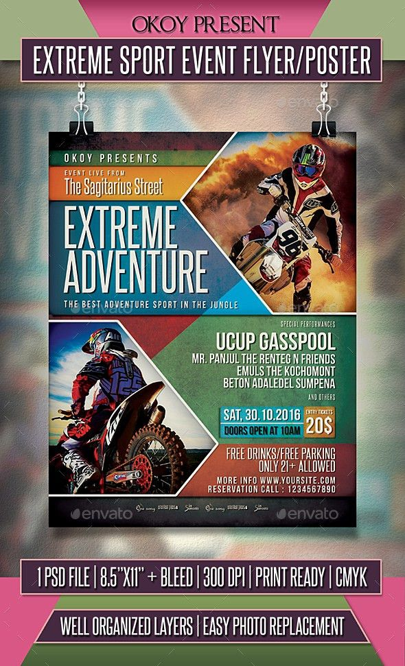 Extreme Sport Event Flyer / Poster   Event flyers, Flyer template ...