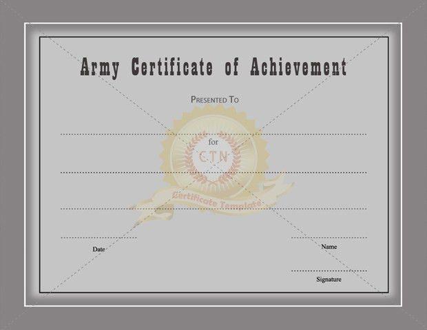 Army Certificate Of Achievement Template - Certificate Template