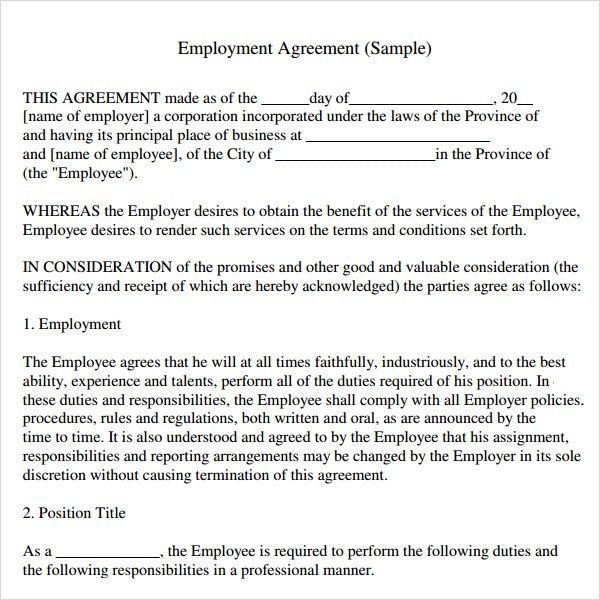 Awesome Sample Employment Agreement   5+ Free Documents Download In PDF, Doc