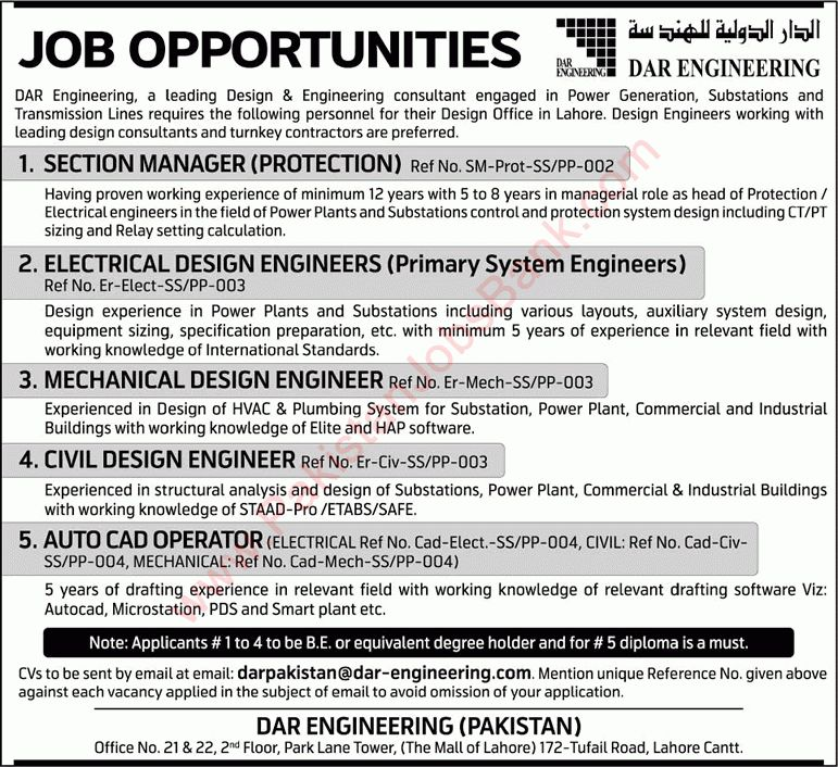Dar Engineering Lahore Jobs 2015 June Design Engineers, Section ...