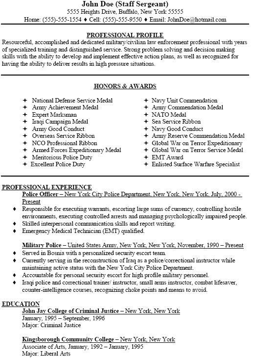 sample police resume sample resume for a military to civilian ...