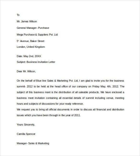 Sample Business Invitation Letter - 9+ Download Free Documents in ...
