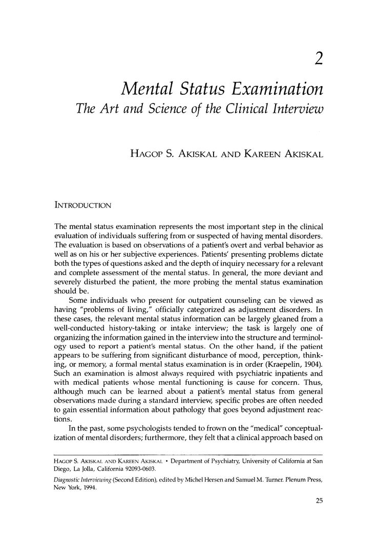 Mental Status Examination - Springer