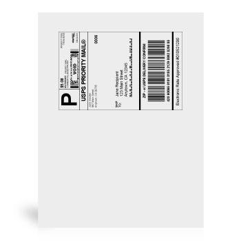 """8 1/2"""" x 11"""" Shipping Labels, 25 Labels 
