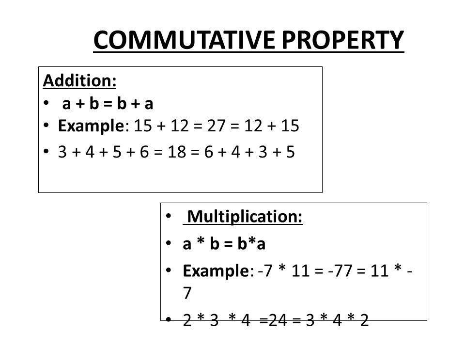 COMMUTATIVE PROPERTY What does the word commute mean or in what ...