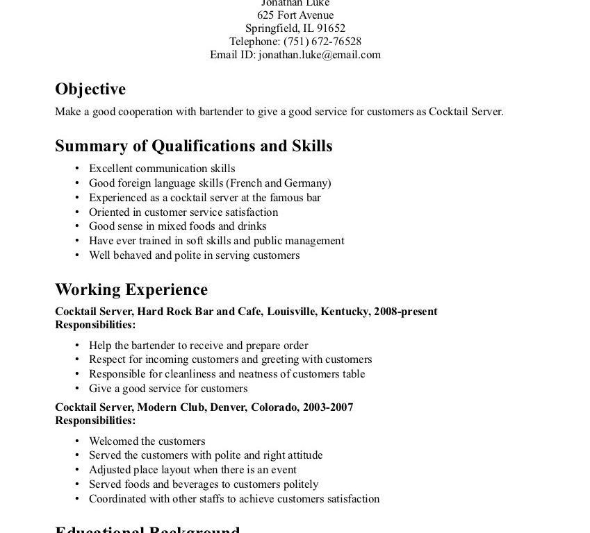 Cocktail Waitress Resume Samples. waiter resume sample resume for ...
