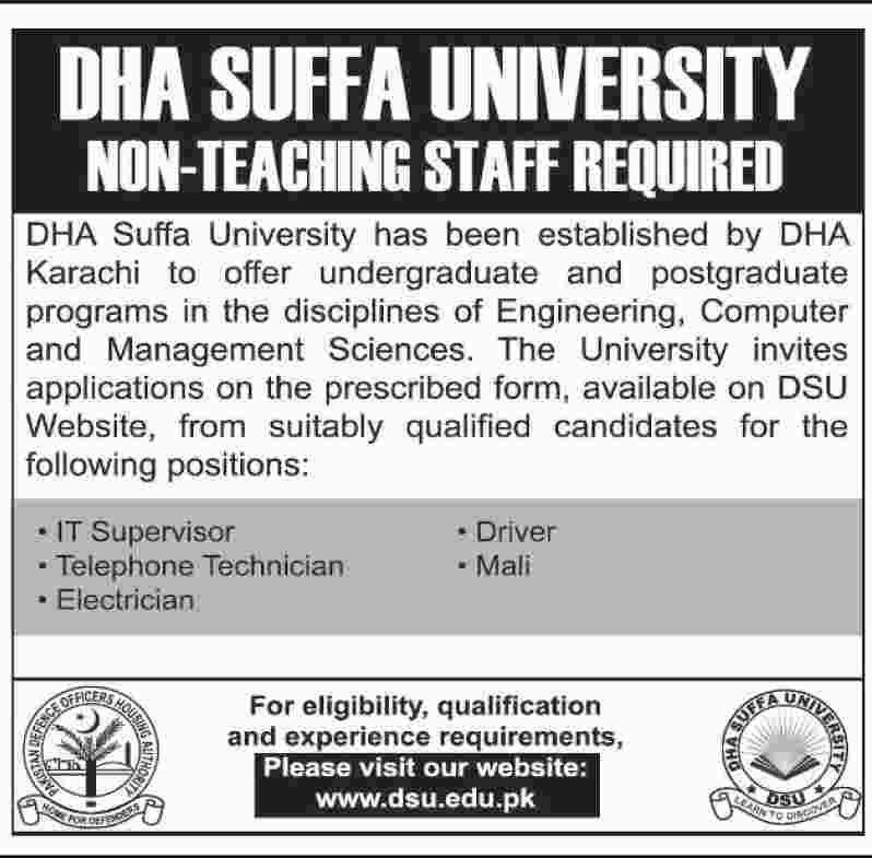 Jobs in DHA Suffa University for IT Supervisor, Telephone ...
