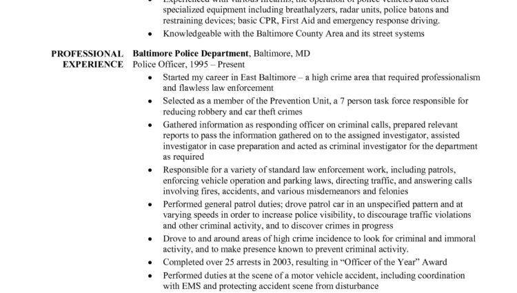 resume for police officer