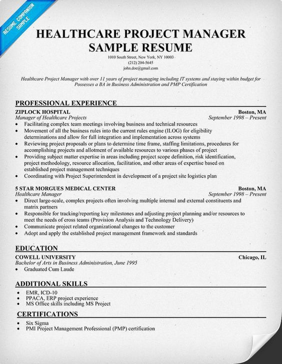 Project Manager Resume Template. Healthcare Project Manager Resume ...