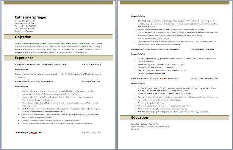 Medical Billing Manager Resume | Manager Resume Samples ...