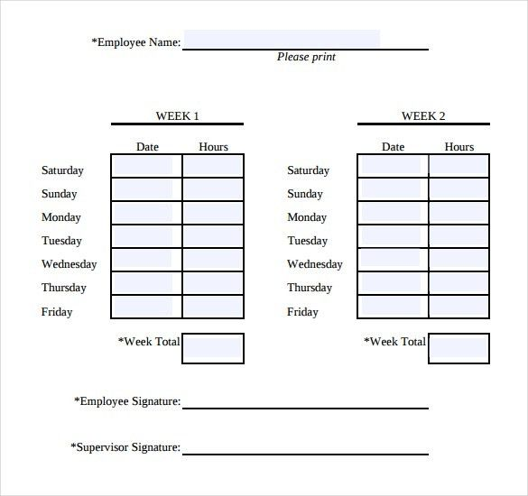 Simple Weekly Timesheet | 13+ Simple Timesheet Templates – Free ...