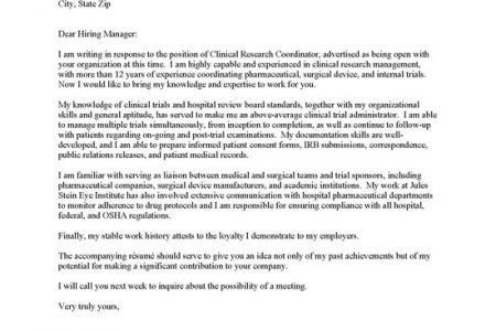 Clinical Research Coordinator Cover Letter | The Letter Sample