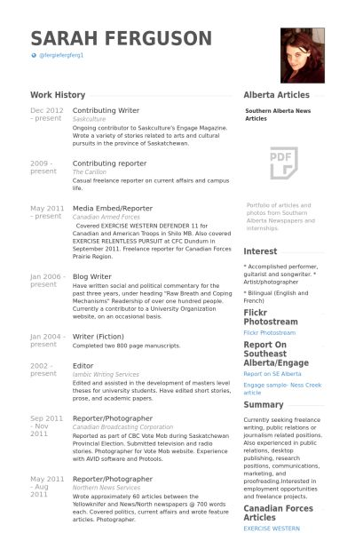 Contributing Writer Resume samples - VisualCV resume samples database