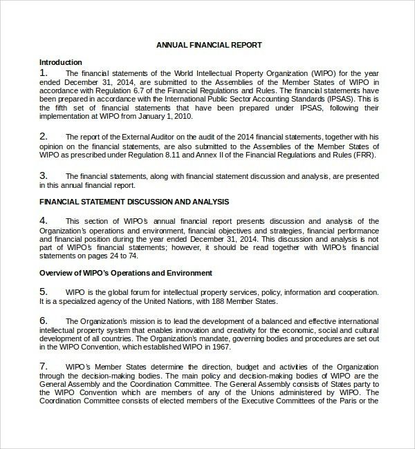 External Audit Report Template Sample External Audit Report 8 – Annual Financial Report Sample