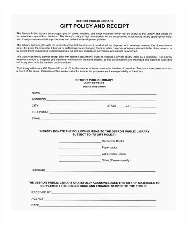 5+ Gift Receipt Templates - Free Sample, Example Format Download ...