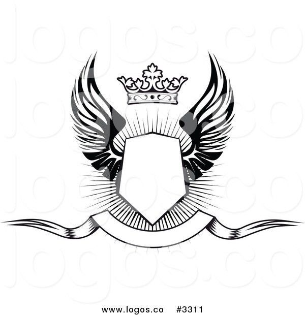 Royalty Free Vector of a Black and White Winged Shield with a ...