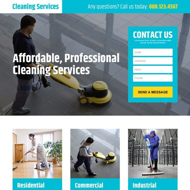 professional cleaning services lead generating landing page design ...