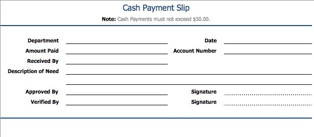 Payment Slip Template | Sample Format