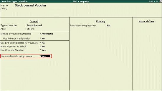Creating a Voucher Type