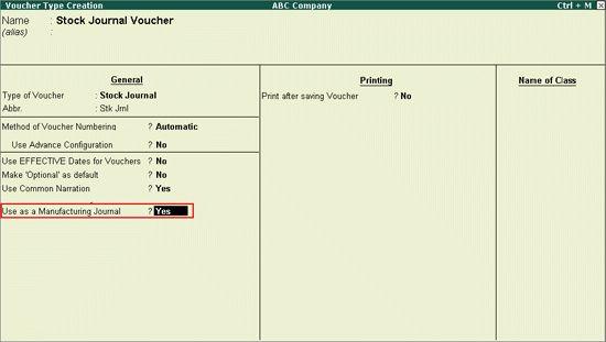 Creating a Voucher Type