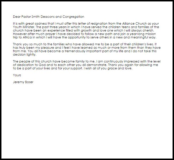 Resignation Letter Format: Youth Ministry Deacon Resignation ...