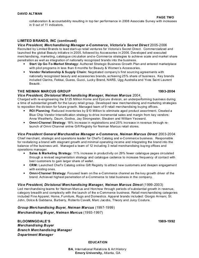DAVID ALTMAN CONSUMER GOODS & RETAIL OMNI-CHANNEL E-COMMERCE CHIEF EX…
