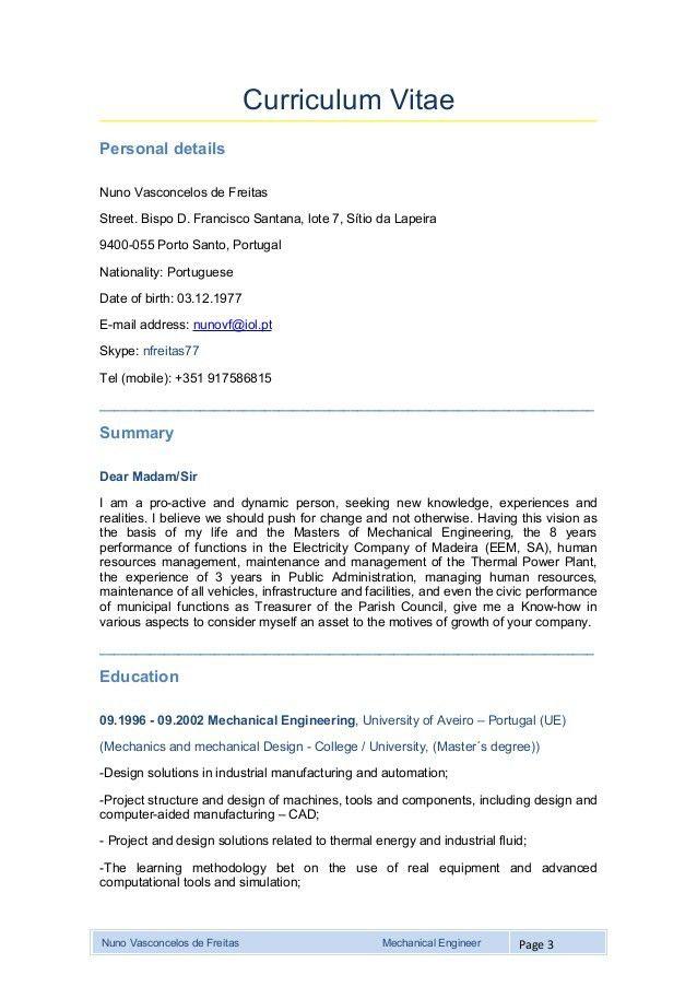 Mechanical engineer curriculum vitae