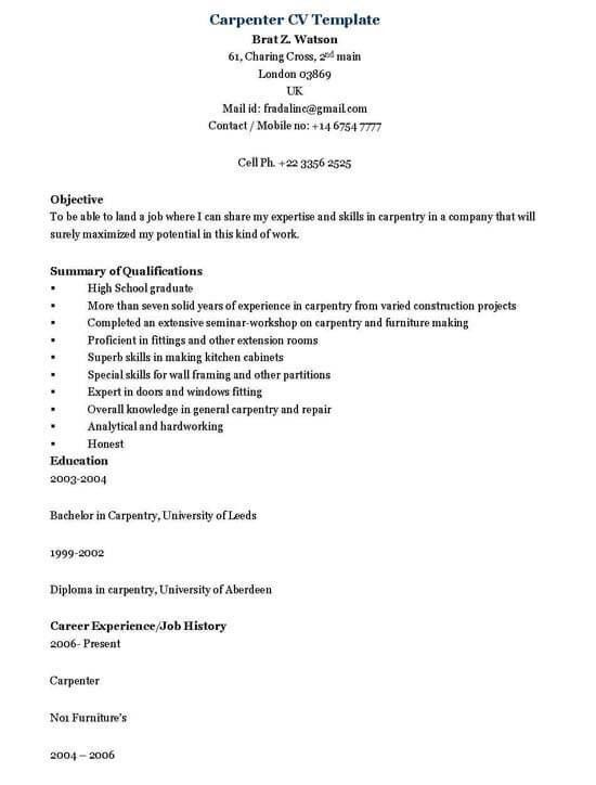 Carpenter Resume Sample