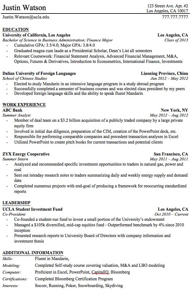 Professional Resume Templates For College Graduates