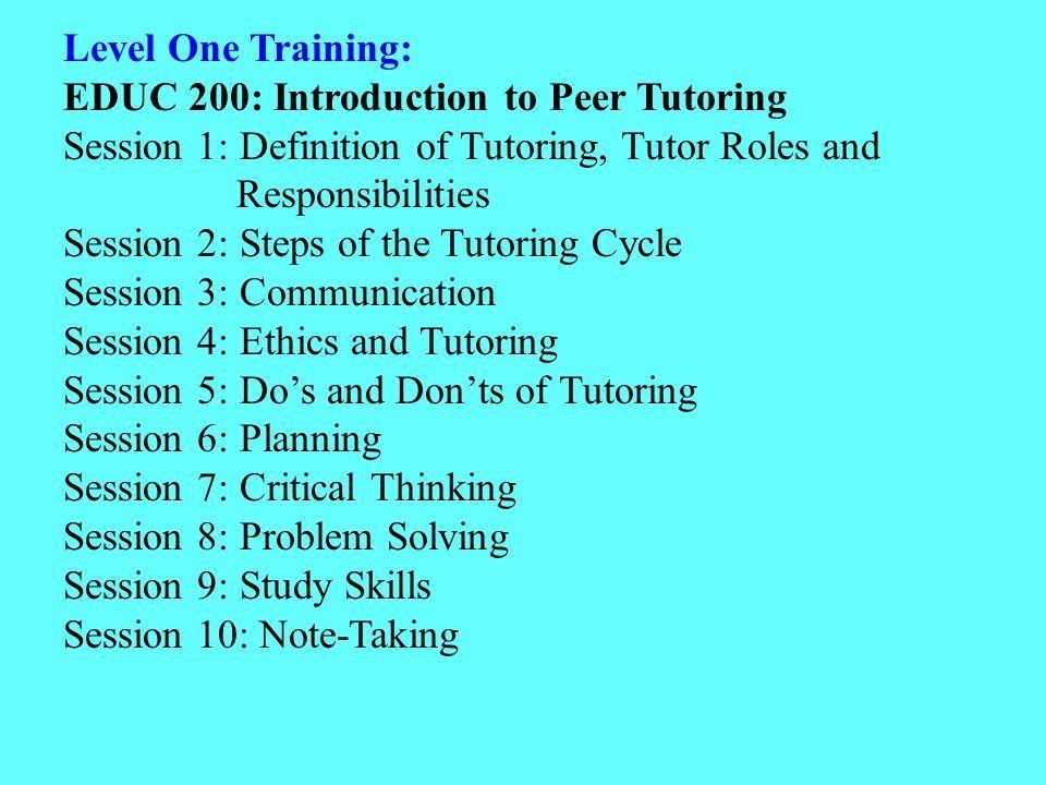 Characteristics of Effective Peer Tutoring Programs College ...