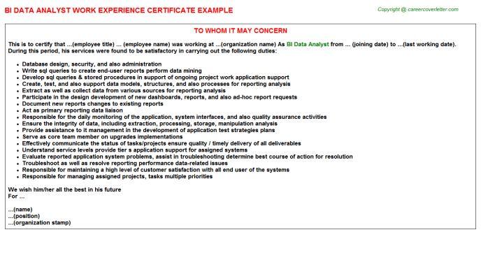Bi Data Analyst Work Experience Certificate