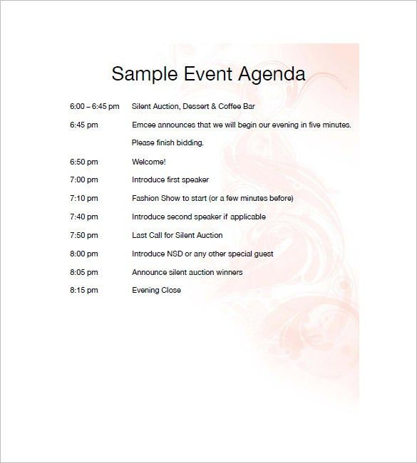 10+ Event Agenda Templates - Free Sample, Example, Format Download ...