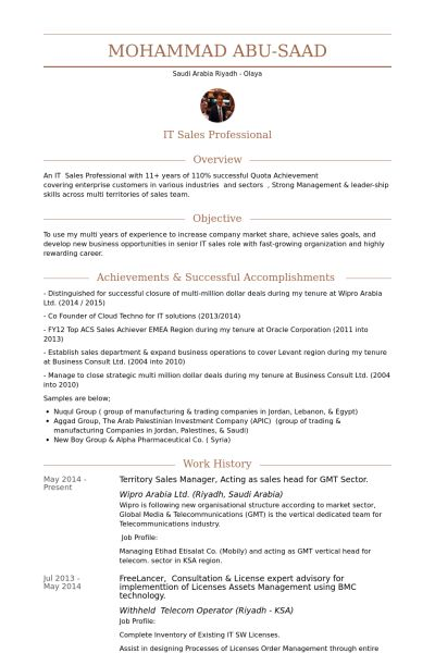 Territory Sales Manager Resume samples - VisualCV resume samples ...