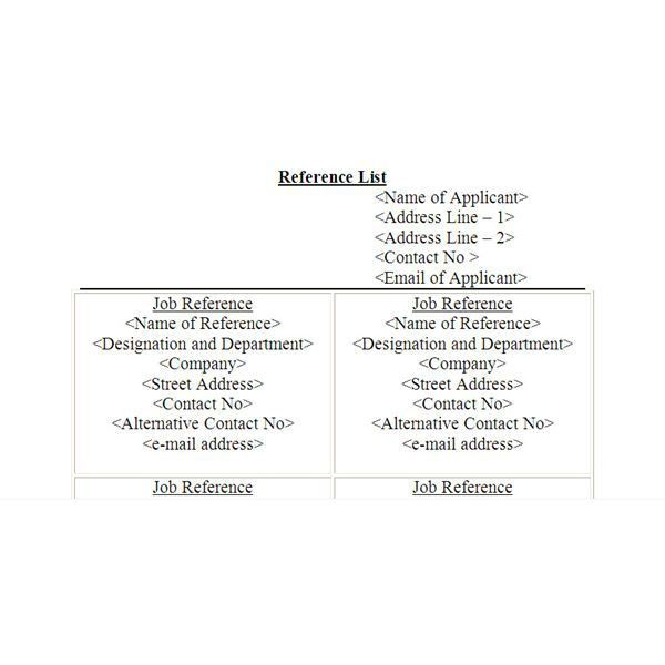 What Should a Job Reference Page Look Like?