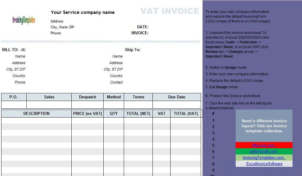 VAT Service Invoice Template - Price Excluding Tax