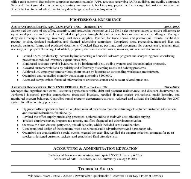 Bookkeeping Resume Samples - Resume CV Cover Letter