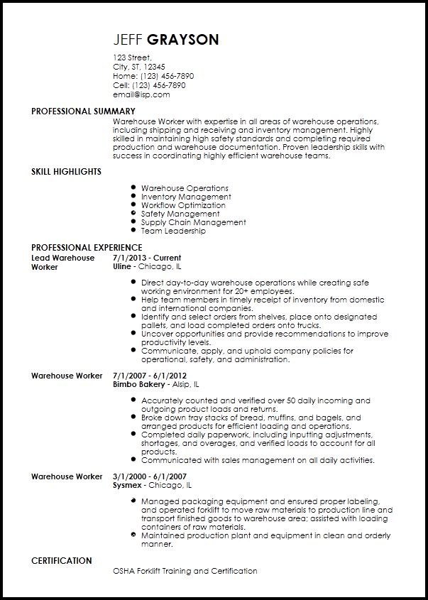 Free Traditional Warehouse Worker Resume Templates | ResumeNow