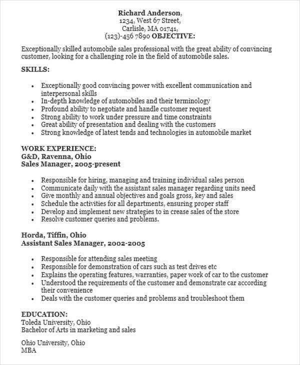 automobile sales resume salesperson resume car sales resume