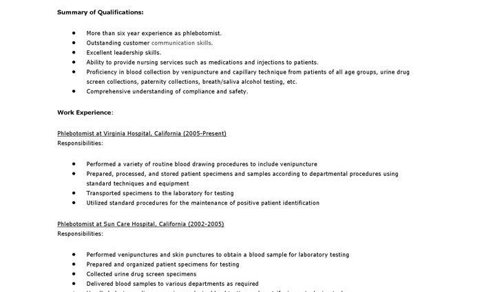 phlebotomy resume objective resume cover letter samples for ...