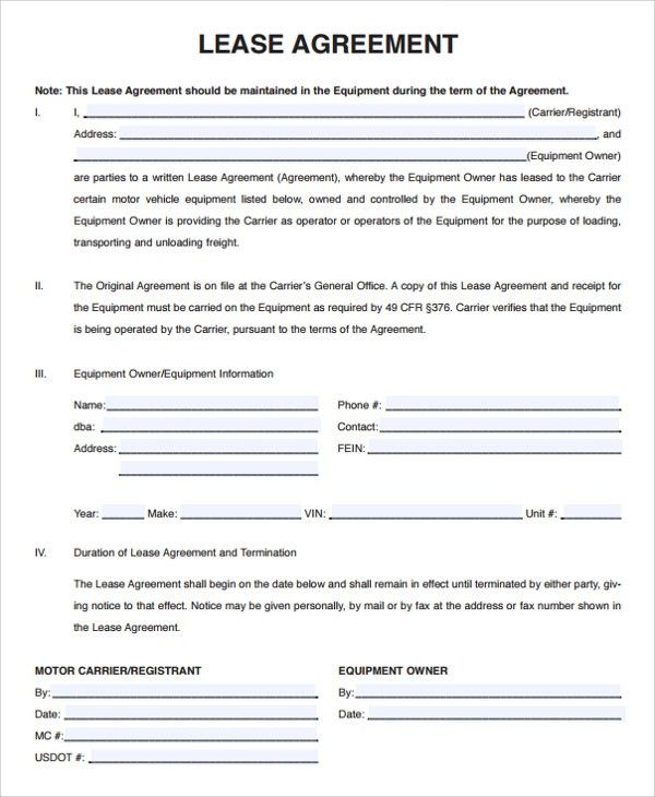 Owner Operator Lease Agreement Sample. Owner Operator Lease ...