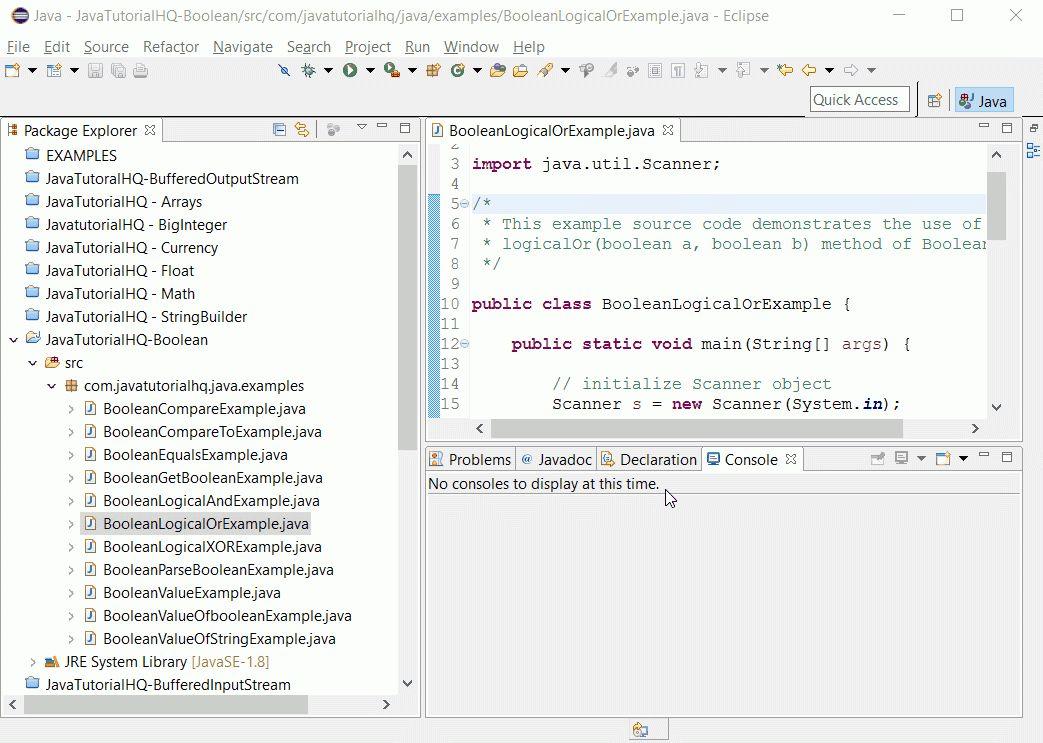 Java Boolean logicalOr() method example
