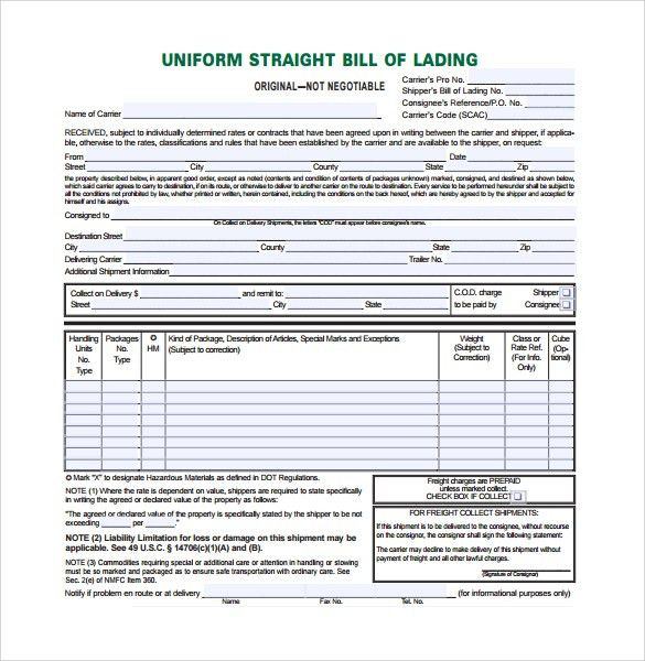 Sample Bill of Lading Form - 9+ Download Free Documents In PDF