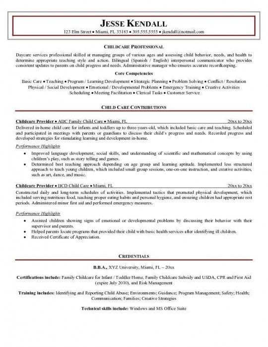 Child Care Resume Samples | Experience Resumes