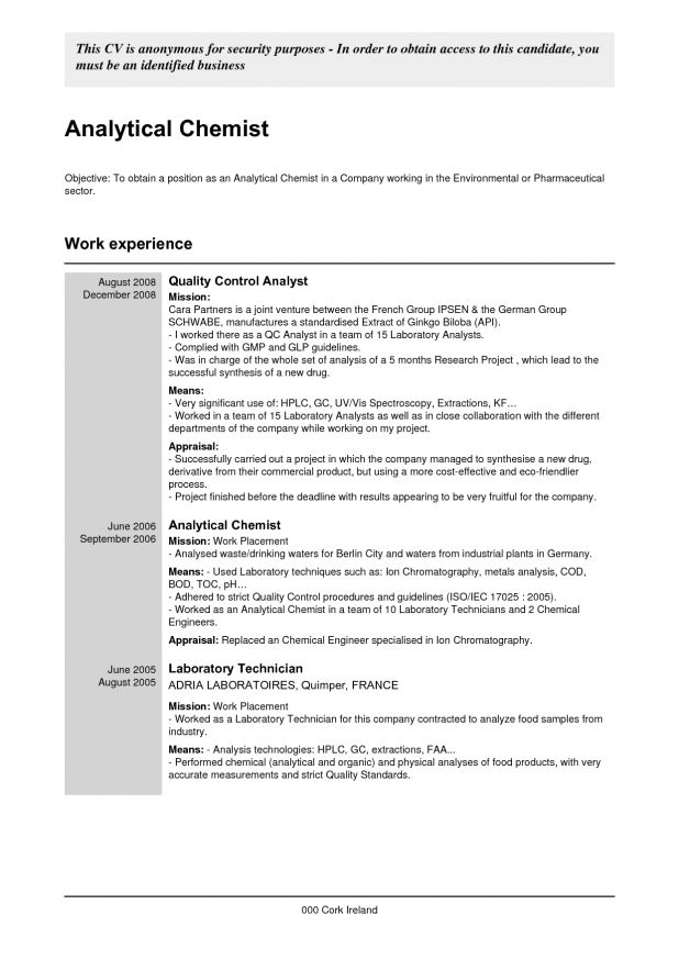 qc resume sample resume cv cover letter. quality control analyst ...