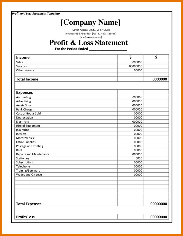 p and l statement template