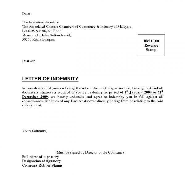 Indemnity Letter Template [Template.billybullock.us ]