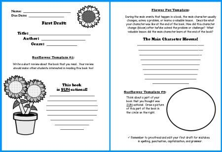 Sunflower Book Report Projects: templates, worksheets, grading ...