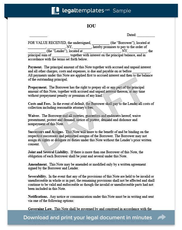 Free IOU Template | Create an IOU Form | LegalTemplates